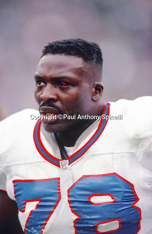 Buffalo Bills defensive end Bruce Smith (78) looks on with a red eye injured during the NFL football game against the Los Angeles Raiders on Dec. 8, 1991 in Los Angeles. The Bills won the game 30-27 in overtime. (©Paul Anthony Spinelli)