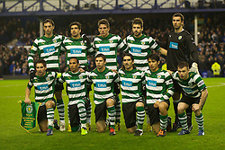 LIVERPOOL, ENGLAND - Tuesday, February 16, 2010: Sporting Clube de Portugal's players line-up for a team-group photograph before the UEFA Europa League Round of 32 1st Leg match against Everton at Goodison Park. Back row L-R: Tonel, Joao Moutinho, Daniel Carrico, Miguel Veloso, goalkeeper Rui Patricio. Front row L-R: captain Joao Moutinho, Liedson, Abel, Pedro Mendes, Matias Fernandez, Marat Izmailov. (Photo by: David Rawcliffe/Propaganda)