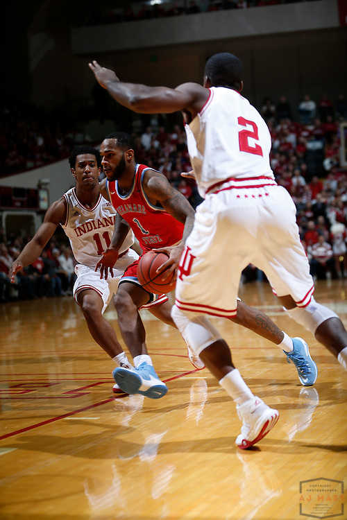 Delaware State guard DeAndre Haywood (1) in action as Delaware State played Indiana in an NCCA college basketball game, in Indianapolis, Monday, Dec. 19, 2016. (AJ Mast)