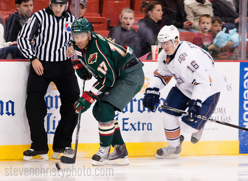 December 7, 2010: The Oklahoma City Barons play the Houston Aeros in an American Hockey League game at the Cox Convention Center in Oklahoma City.