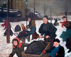 Painting Kohlenfuhren by Hans Baluschek at Markisches Museum in central Berlin Germany