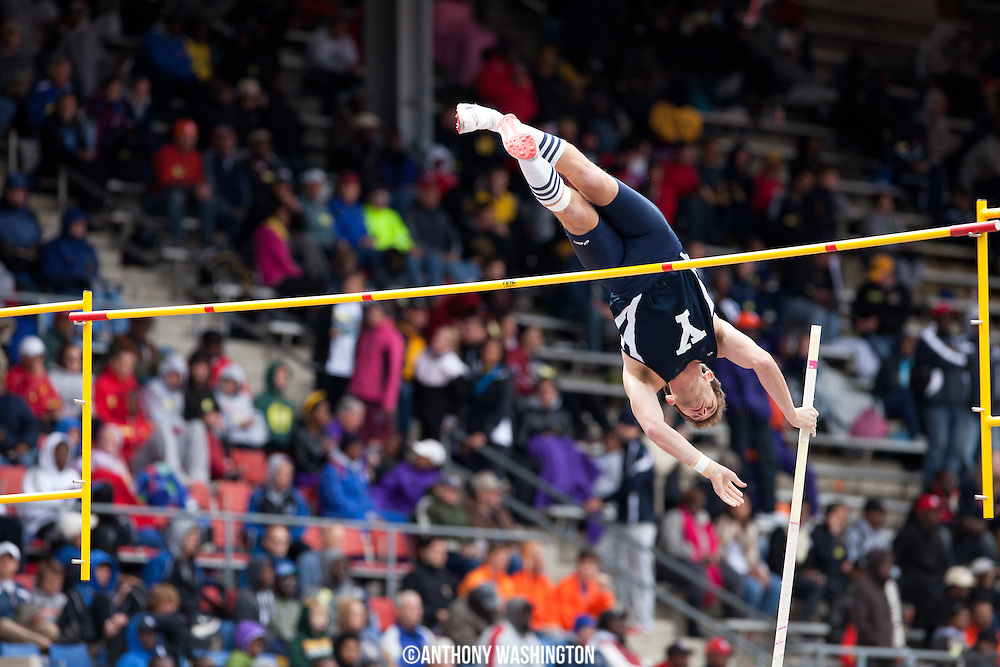 Paul Chandler of Yale University attempts to clear the bar during the College Men's Pole Vault Eastern competition during the Penn Relays athletic meets on Friday, April 27, 2012 in Philadelphia, PA.