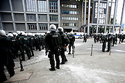 Frankfurt am Main | 01.06.2013<br /> <br /> On Satureday (June 1, 2013) about 10000 left-wing activists gathered in the german city of Frankfurt am Main for an international demonstration march against global capitalism, poverty and power of financial markets. About 20 minutes after the start of the protest march the protesters were stopped and kettled by german riot police, more than 1000 people where brutally arrested.<br /> Here: Riot policemen are blocking the protest march.<br /> <br /> &copy;peter-juelich.com<br /> <br /> [No Model Release | No Property Release]