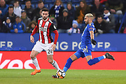 Leicester City midfielder Riyad Mahrez (26) and Sheffield United defender Danny Lafferty (24) during the The FA Cup match between Leicester City and Sheffield Utd at the King Power Stadium, Leicester, England on 16 February 2018. Picture by Jon Hobley.