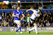 Bolton Wanderers defender Dorian Dervite (4) and Birmingham City striker Lukas Jutkiewicz (10) battle for the ball 0-0 during the EFL Sky Bet Championship match between Birmingham City and Bolton Wanderers at St Andrews, Birmingham, England on 15 August 2017. Photo by Alan Franklin.