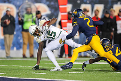 Oct 25, 2018; Morgantown, WV, USA; Baylor Bears wide receiver Denzel Mims (15) catches a pass during the third quarter against the West Virginia Mountaineers at Mountaineer Field at Milan Puskar Stadium. Mandatory Credit: Ben Queen-USA TODAY Sports