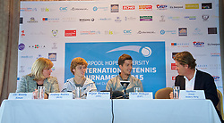 LIVERPOOL, ENGLAND - Thursday, June 18, 2015: Liverpool Labour's Cabinet member for Culture and Tourism Councillor Wendy Simon, Andrey Rublev (RUS), Aljaz Bedene (GBR) and Tournament Director Anders Borg during a press conference on Day 1 of the Liverpool Hope University International Tennis Tournament at Liverpool Cricket Club. (Pic by David Rawcliffe/Propaganda)