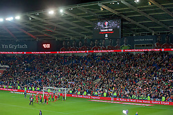 CARDIFF, WALES - Tuesday, October 13, 2015: Wales players celebrate after qualifying for the finals following a 2-0 victory over Andorra during the UEFA Euro 2016 qualifying Group B match at the Cardiff City Stadium. (Pic by Paul Currie/Propaganda)