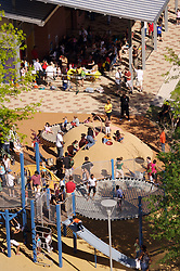 Stock photo of an aerial view of the park's playground and eating area