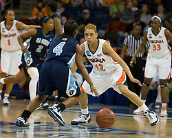 Virginia guard Britnee Millner (12) guards Old Dominion guard Jazzmin Walters (4).  The #11 ranked / #5 seed Old Dominion Lady Monarchs defeated the #24 ranked / #4 seed Virginia Cavaliers 88-85 in overtime in the second round of the 2008 NCAA Women's Basketball Championship at the Ted Constant Convocation Center in Norfolk, VA on March 25, 2008.