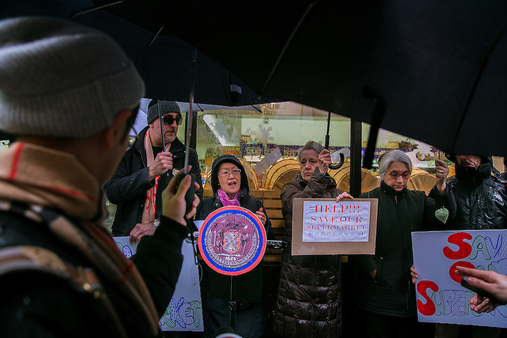 NEW YORK, NY - DECEMBER 29, 2016: City Councilmember Margaret Chin rallies against the closing of the Met Foodmarket outside the store in the Little Italy neighborhood in New York, New York. CREDIT: Sam Hodgson for The New York Times.