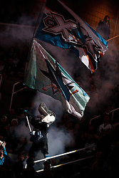 December 13, 2010; San Jose, CA, USA;  The San Jose Sharks waves flags in the stands before the game against the Dallas Stars at HP Pavilion. Mandatory Credit: Jason O. Watson / US PRESSWIRE