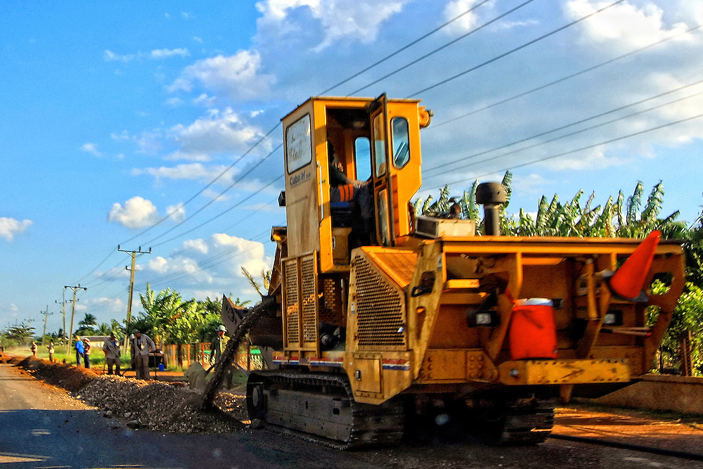 Trenching machine in Real Campina, Cienfuegos Province, Cuba.