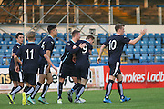 Josh Skelly  is congratulated after scoring - Celtic v Dundee - Development League at Cappielow<br /> <br />  - &copy; David Young - www.davidyoungphoto.co.uk - email: davidyoungphoto@gmail.com