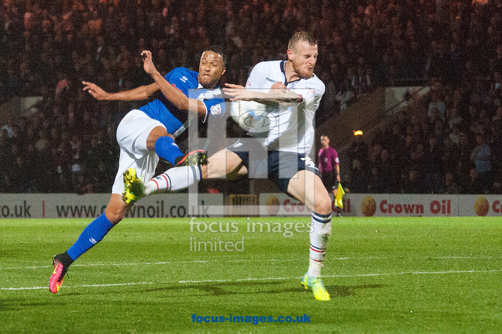 Dean Moxey of Bolton Wanderers blocks a shot from Joe Thompson of Rochdale during the Sky Bet League 1 match at Spotland, Rochdale<br /> Picture by Matt Wilkinson/Focus Images Ltd 07814 960751<br /> 27/09/2016