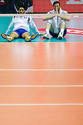 (R) Julien Lyneel from France reacts after lost quarterfinal during the 2013 CEV VELUX Volleyball European Championship match between Russia v France at Ergo Arena in Gdansk on September 25, 2013.<br /> <br /> Poland, Gdansk, September 25, 2013<br /> <br /> Picture also available in RAW (NEF) or TIFF format on special request.<br /> <br /> For editorial use only. Any commercial or promotional use requires permission.<br /> <br /> Mandatory credit:<br /> Photo by &copy; Adam Nurkiewicz / Mediasport