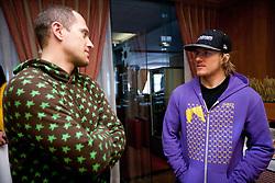 Jure Kosir (SLO) and Ted Ligety (USA) at meeting of (former) Alpine Ski racers named as Vitranc Legends - Winners of Vitranc Cup  at FIS Ski World Cup Alpine Kranjska Gora, on March 5, 2011 in Kranjska Gora, Slovenia.  (Photo By Vid Ponikvar / Sportida.com)