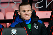 Wayne Rooney (10) of Everton on the bench before the Premier League match between Bournemouth and Everton at the Vitality Stadium, Bournemouth, England on 30 December 2017. Photo by Graham Hunt.