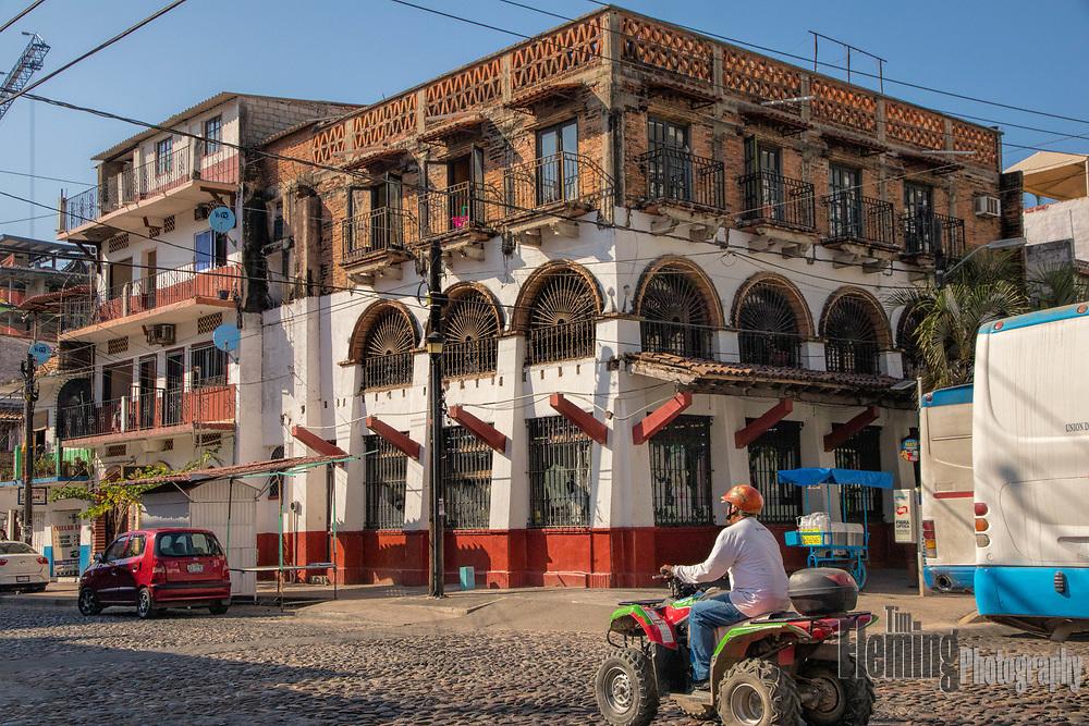 Busy street scene in Puerto Vallarta, Mexico