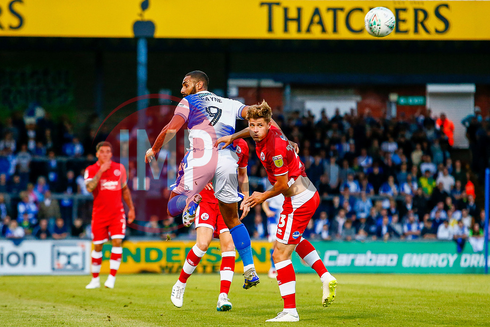 Stefan Payne of Bristol Rovers challenges Josh Doherty of Crawley Town for the aerial ball  - Mandatory by-line: Ryan Hiscott/JMP - 14/08/2018 - FOOTBALL - Memorial Stadium - Bristol, England - Bristol Rovers v Crawley Town - Carabao Cup