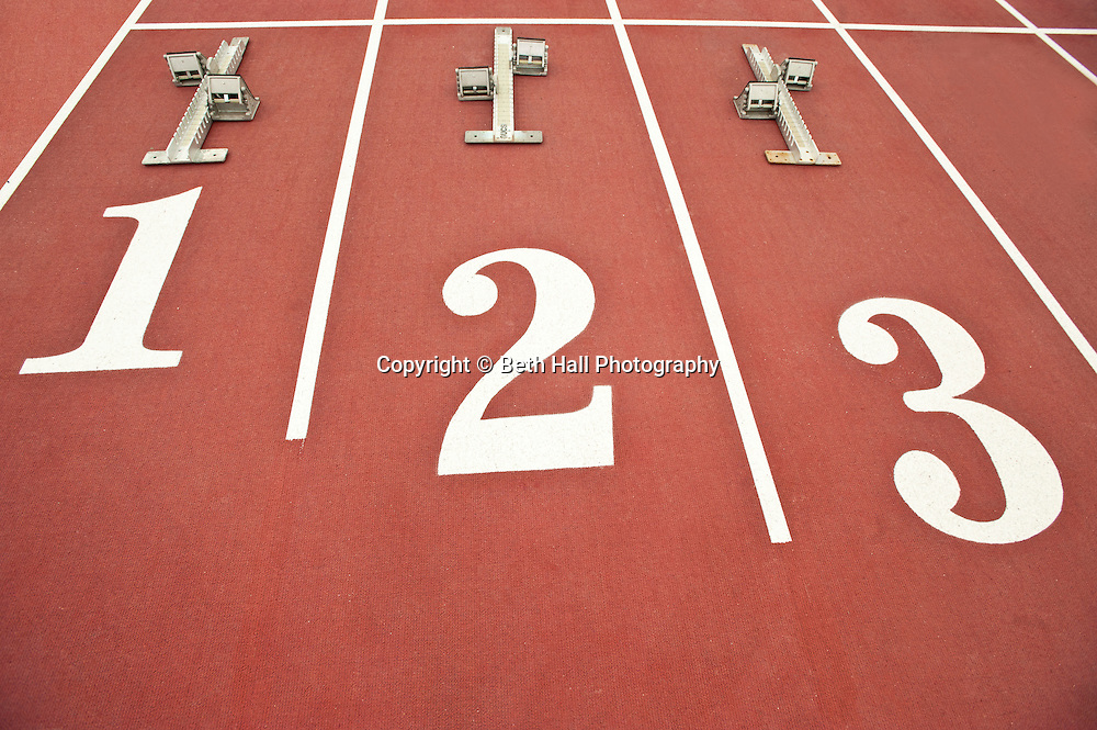 The starting blocks on at a track and field event.