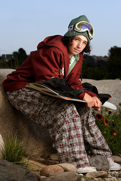 "ENCINITAS, CA, June 19, 2006: Luke Mitrani photographed for Sports Illustrated's ""Where Will They Be"" feature in Encinitas, California on June 19,2006. Mitrani, a snowboarder from a beach town, had major endorsements by age eight. (Photo by Todd Bigelow/Aurora)"