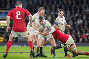 Twickenham, Surrey. UK.  Jonny MAY, supported by Dylan HARTLEY and Danny CARE, during the Six Nations Rugby Match, England vs Wales RFU Stadium, Twickenham. Surrey, England. on Saturday 10.02.18<br /> <br /> <br /> [Mandatory Credit Peter SPURRIER/Intersport Images]