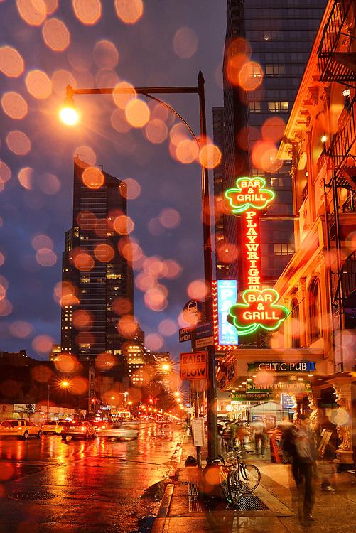 theater District in the rain,,New York, Manhattan, USA