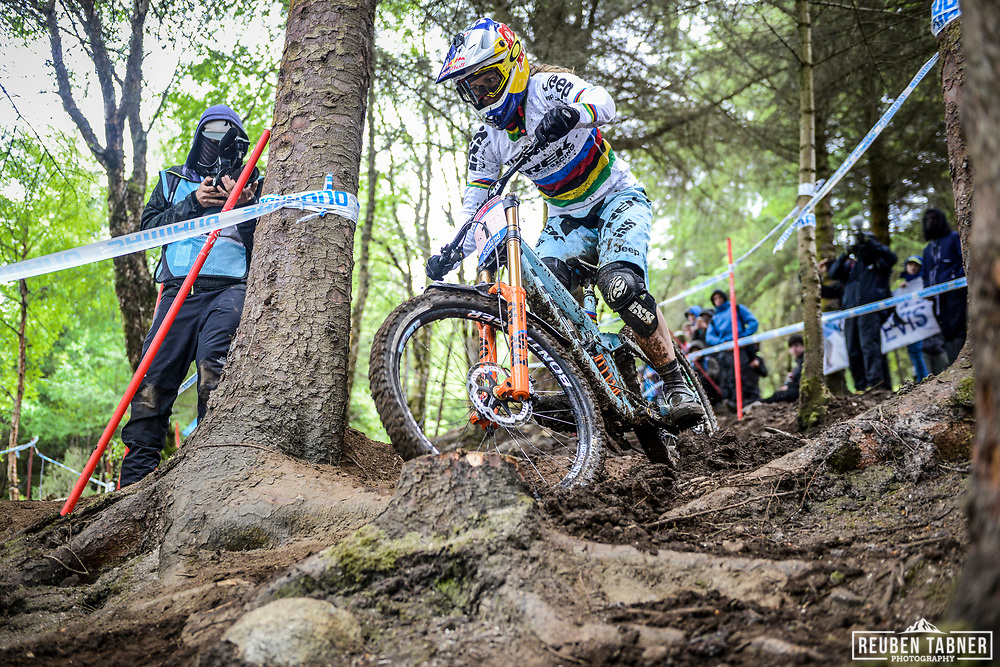 Rachel Atherton of Trek Factory Racing DH finds her way through the trees and to the top spot during the qualifying  round of the UCI Mountain Bike World Cup at Fort William in Scotland.