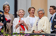 9-5-2017 OSLO NORWAY - Their Majesties The King Harald and Queen Sonja greet people the Palace Square from the Palace Balcony. Many of their Royal guests will also be in attendance celebrations of king Harald birthday  Norway<br /> Prince Haakon and Crown Princess Mette-Marit Princess Märtha Louise Princess Astrid H.M. Queen Margrethe II  Crown Prince Frederik and Crown Princess Mary Prince Joachim and Princess Marie  King Carl XVI Gustaf and Queen Silvia Crown Princess Victoria and Prince Daniel Prince Carl Philip and Princess Sofia<br /> Grand Duke Herri and and Grand Duchess Maria-Teresa Archduke Duke Guillaume and Arvestor Duchess Stéphanie H.F.H. First Albert II King Willem-Alexander and Queen Maxima Princess Beatrix of the Netherlands Prince Constantijn of the Netherlands Princess Mabel of Oranje-Nassau King Philippe and Queen Mathilde COPYRIGHT ROBIN UTRECHT<br /> <br /> 9-5-2017 OSLO NOORWEGEN - Hun Majesteiten De Koning Harald en Koningin Sonja begroeten mensen het Paleisplein van het Paleis Balkon. Veel van hun Koninklijke gasten zullen ook aanwezig zijn op feesten van koning Harald verjaardag Noorwegen<br /> Prins Haakon en Kroonprinses Mette-Marit Prinses Märtha Louise Prinses Astrid H.M. Koningin Margrethe II Kroonprins Frederik en Kroonprinses Mary Prins Joachim en Prinses Marie Koning Carl XVI Gustaf en Koningin Silvia Kroonprinses Victoria en Prins Daniel Prins Carl Philip en Prinses Sofia<br /> Groothertog Herri en Groot Hertogin Maria-Teresa Aartshertog Duke Guillaume en Arvestor Duchess Stéphanie H.F.H. Eerste Albert II Koning Willem-Alexander en Koningin Maxima Prinses Beatrix van de Prins Constantijn van Nederland Prinses Mabel van Oranje-Nassau Koning Philippe en Koningin Mathilde COPYRIGHT ROBIN UTRECHT