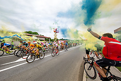 Cyclists and the fans with torch on bicycles during 2nd Stage of 25th Tour de Slovenie 2018 cycling race between Maribor and Rogaska Slatina (152,7 km), on June 14, 2018 in  Slovenia. Photo by Vid Ponikvar / Sportida