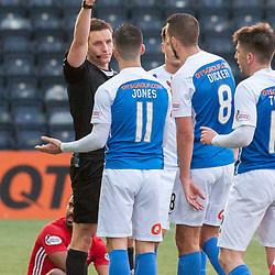 Referee Steven McLean gives a second yellow card and dismisses #11 Jordan Jones (Kilmarnock) - Kilmarnock v Aberdeen - Ladbrokes Premiership - 26 November 2017 - © Russel Hutcheson | SportPix.org.uk