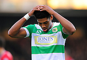 Yeovil Town's Sean Jeffers holds his head in his hands after going close with a shot during the Sky Bet League 2 match between Yeovil Town and Oxford United at Huish Park, Yeovil, England on 28 December 2015. Photo by Graham Hunt.