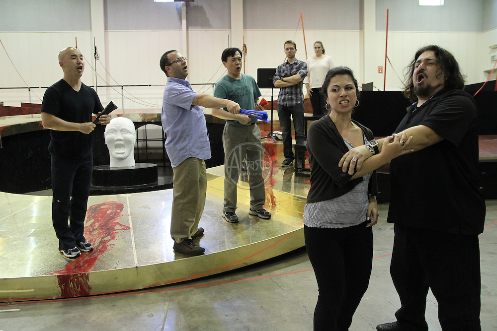 Turandot Staging #1, Seattle Opera, July 11, 2012. Antonello Palombi (Calaf), Joseph Hu (Pong), Julius Ahn (Pang), Lina Tetriani (Liù) and Patrick Carfizzi (Ping).
