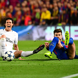 (L-R) Edinson Cavani of PSG is fouled by Gerard Pique of Barcelona during the Uefa Champions League Round of 16 second leg match between FC Barcelona and Paris Saint Germain at Camp Nou on March 8, 2017 in Barcelona, Spain. (Photo by Dave Winter/Icon Sport)