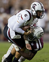 South Carolina quarterback Jake Bentley (19) is sacked by Texas A&M linebacker Otaro Alaka (42) during the fourth quarter of an NCAA college football game Saturday, Sept. 30, 2017, in College Station, Texas. (AP Photo/Sam Craft)