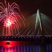 Fireworks exploded over the Christopher S. Bond Bridge on Sunday evening as part of the KC Riverfest celebration at Richard L. Berkley Riverfront Park.