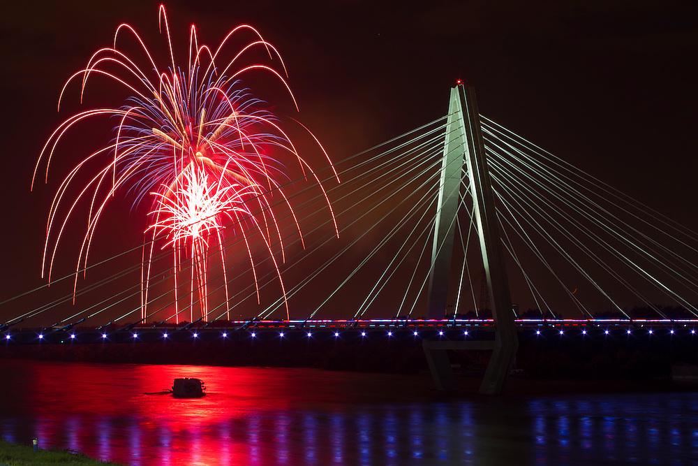 Fireworks exploded over the Christopher S. Bond Bridge on Sunday evening as part of the KC Riverfest celebration at Richard L. Berkley Riverfront Park.