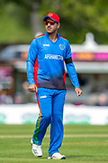 Afghan cricketer Najibullah Zadran in the field during the One Day International match between Scotland and Afghanistan at The Grange Cricket Club, Edinburgh, Scotland on 10 May 2019.