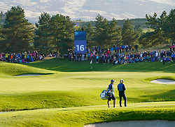 Solheim Cup 2019 at Centenary Course at Gleneagles in Scotland, UK. Suzann Pettersen of Europe waits to play approach to 16th hole on Friday afternoon Fourballs.