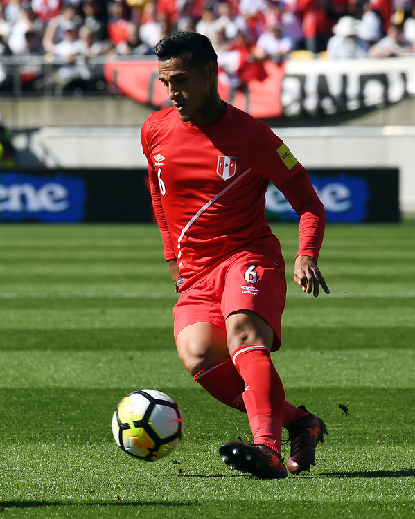 iPeru's Miguel Trauco against New Zealand n the Soccer World Cup qualifying match, Westpac Stadium, Wellington, New Zealand, Saturday, November 11, 2017. Credit:SNPA / Ross Setford  **NO ARCHIVING**