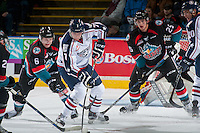 KELOWNA, CANADA - OCTOBER 21: Jonathan Smart #6 of the Kelowna Rockets stick checks Brendan O'Reilly #7 of the Tri-City Americans on October 21, 2016 at Prospera Place in Kelowna, British Columbia, Canada.  (Photo by Marissa Baecker/Shoot the Breeze)  *** Local Caption *** Jonathan Smart; Brendan O'Reilly;