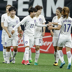 Oct 19, 2017; New Orleans, LA, USA; Korea Republic Han Chaerin (22) celebrates with teammates after a goal against USA during the first half of an International Friendly Women's Soccer match at the Mercedes-Benz Superdome. Mandatory Credit: Derick E. Hingle-USA TODAY Sports