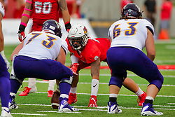 NORMAL, IL - October 06:  Romeo McKnight during a college football game between the ISU (Illinois State University) Redbirds and the Western Illinois Leathernecks on October 06 2018 at Hancock Stadium in Normal, IL. (Photo by Alan Look)