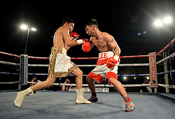 Lee Haskins in action with Willy Velazquez. - Photo mandatory by-line: Alex James/JMP - Mobile: 07966 386802 - 02/12/2014 - SPORT - Boxing - Bristol - Bristol City academy - Lee Haskins v Willy Velazquez - Boxing