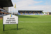 Please keep off the pitch sign before the EFL Sky Bet League 2 match between Mansfield Town and Luton Town at the One Call Stadium, Mansfield, England on 26 August 2017. Photo by Nigel Cole.