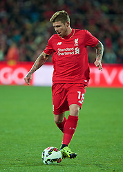 ADELAIDE, AUSTRALIA - Monday, July 20, 2015: Liverpool's Alberto Moreno in action against Adelaide United during a preseason friendly match at the Adelaide Oval on day eight of the club's preseason tour. (Pic by David Rawcliffe/Propaganda)