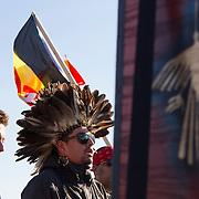 Protest and march from in front of the U.S. Capitol to the EPA, about the North Dakota Access Pipeline, as well as the effort to free Leonard Peltier.  Saturday, December 10, 2016. John Boal Photography