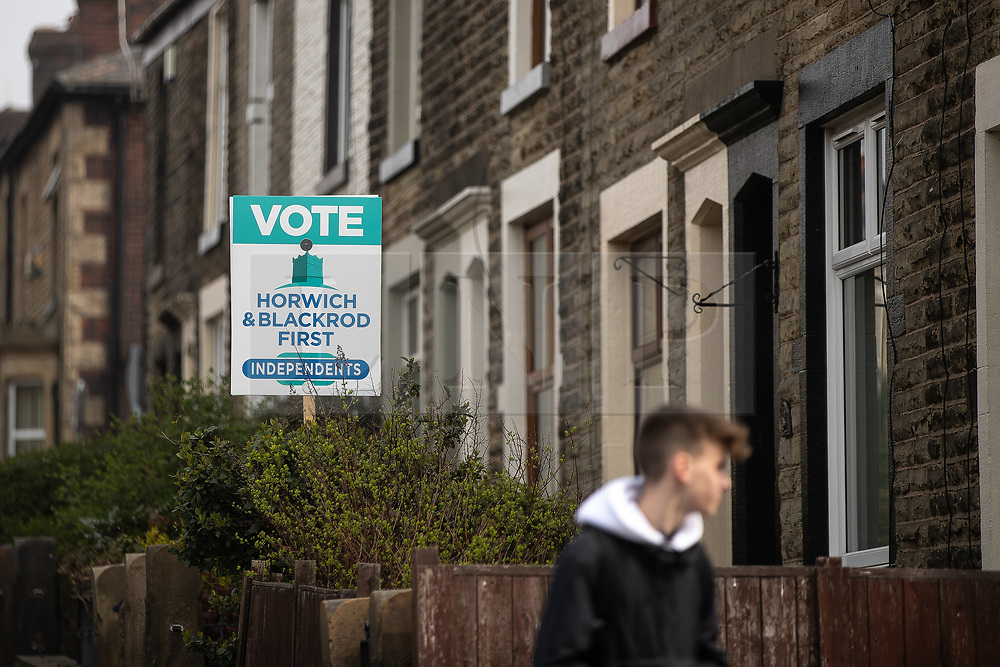© Licensed to London News Pictures . 18/04/2019. Bolton , UK . Poster board outside a house supporting Horwich and Blackrod First Independents . Independent political parties , not tied to existing national parties , are competing for council seats in wards across the North West . Photo credit : Joel Goodman/LNP