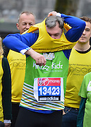 © Licensed to London News Pictures. 11/04/2013. Westminster, UK. Shadow Chancellor Rt. Hon Ed Balls MP at a photo-call to launch his second Virgin London Marathon Challenge, raising money and awareness for disabled children's charities Whizz-Kidz and Action for Stammering Children. Photo credit : Stephen Simpson/LNP